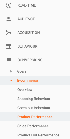 Finding product data in Google Analytics