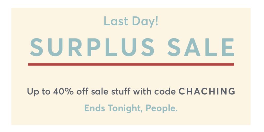 Ad for surplus sale